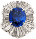 Estate Jewelry:Rings, Sapphire, Diamond, Platinum Ring-Dant. ...