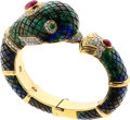 Estate Jewelry:Bracelets, Azurmalachite, Diamond, Ruby, Emerald, Gold Bracelet. ...