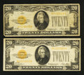 Small Size:Gold Certificates, Fr. 2402 $20 1928 Gold Certificates. Two Examples. Very Fine and Fine.. ... (Total: 2 notes)