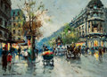 Paintings, ANTOINE BLANCHARD (French, 1910-1988). Paris Streetscape. Oil on canvas. 13-1/4 x 18 inches (33.7 x 45.7 cm). Signed low...