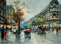 ANTOINE BLANCHARD (French, 1910-1988) Paris Streetscape Oil on canvas 13-1/4 x 18 inches (33.7 x