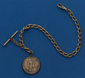 Timepieces:Watch Chains & Fobs, Gold Filled Watch Chain With 1926 S Oregon Trail Half DollarCommemorative Fob. ...