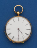 Timepieces:Pocket (pre 1900) , Swiss 18k Gold Choice 36 mm, Key Wind Pocket Watch. ...