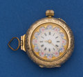 Timepieces:Pendant , Swiss 14k Gold, 30 mm Fancy Dial Pendant Watch. ...