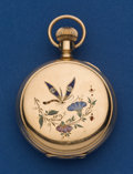 Timepieces:Pocket (post 1900), Waltham 14k Gold, 6 Size Hunters Case With Enamel Pocket Watch. ...