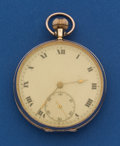 Timepieces:Pocket (post 1900), Swiss 9k Gold, 49 mm Open Face Pocket Watch. ...