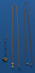 Timepieces:Watch Chains & Fobs, Two Antique Slide Chains & Enamel Fob. ... (Total: 3 Items)