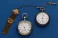 Timepieces:Pocket (pre 1900) , Two American Key Winds One Illinois Private Label One WalthamBroadway. ... (Total: 2 Items)