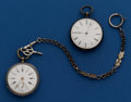 Timepieces:Pocket (pre 1900) , Two Swiss Silver Key Wind Pocket Watches. ... (Total: 2 Items)