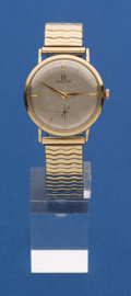 Timepieces:Pocket (post 1900), Omega 14k Gold Gents Manual Wind Wristwatch. ...
