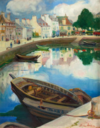 DIXIE SELDEN (American, 1871-1936) The Little Harbor, Concarneau, Brittany, 1926 Oil on canvas 20