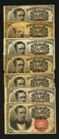 Fractional Currency:Fifth Issue, Fr. 1265 10¢ Fifth Issue VG with edge tears. Fr. 1266 10¢ Fifth Issue Six Examples VG or Better. . ... (Total: 7 notes)