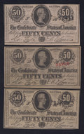 Confederate Notes:1863 Issues, 1863 and 1864 50 Cents Notes.. ... (Total: 3 notes)