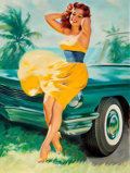 Pin-up and Glamour Art, WILLIAM MEDCALF (American, 20th Century). Pin-Up in YellowDress. Oil on board. 40 x 30 in.. Signed lower left. ...