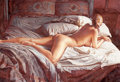 Pin-up and Glamour Art, STEVE HANKS (American , b. 1949). Waking Up, 2005.Watercolor and gouache on paper. 19 x 28.5 in.. Signed lower left....