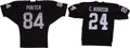 Football Collectibles:Uniforms, Charles Woodson and Jerry Porter Signed Jerseys Lot of 2....