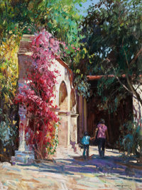 CYRUS AFSARY (American, b. 1940) Visit to San Juan Capistrano Oil on canvas 24 x 18 inches (61.0