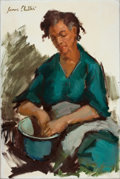 Western, JAMES LEE COLT (American, 1922-2005). Portrait of a Woman. Oil on canvas . 36 x 24 inches (91.4 x 61.0 cm). Signed upper...
