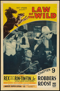 """Law of the Wild (Mascot, 1934). One Sheet (27"""" X 41"""") Chapter 9 -- """"Robbers' Roost."""" Serial"""