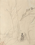 19th Century European:Barbizon, JEAN-BAPTISTE-CAMILLE COROT (French, 1796-1875). ItalianLandscape (Reclining Female Nude on verso). Pencil on paper.7-...