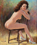 Pin-up and Glamour Art, ARTHUR SARON SARNOFF (American, 1912-2000). Respite. Oil oncanvas. 24 x 20 in.. Signed lower left. ...