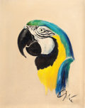 Fine Art - Painting, American:Contemporary   (1950 to present)  , THE COLLECTION OF PAUL GREGORY AND JANET GAYNOR. ADRIAN (American,1903-1959). Parrot, circa 1940s. Oil on canvas. 13 ...