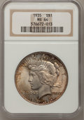 Peace Dollars: , 1935 $1 MS64 NGC. NGC Census: (1777/728). PCGS Population(2013/883). Mintage: 1,576,000. Numismedia Wsl. Price forproblem...