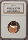 Errors, 1989-D 1C Lincoln Cents Struck 65% off Center MS64 RB NGC. NGCCensus: (1/246). PCGS Population (11/557). (#3089)...