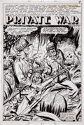 "Original Comic Art:Splash Pages, Bill Molno ""Private War"" Title Splash Page Original Art (Charlton,1976)...."