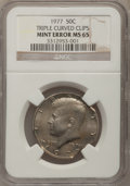 Errors, 1977 50C Kennedy Half Dollars Triple Curved Clips MS66 NGC. NGCCensus: (107/26). PCGS Population (143/33). Mintage: 43,598...