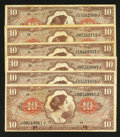 Military Payment Certificates:Series 641, Series 641 $10 Six Examples Fine or Better.. ... (Total: 6 notes)