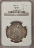 Bust Half Dollars: , 1822 50C VF30 NGC. O-104. NGC Census: (10/480). PCGS Population(23/586). Mintage: 1,559,573. Numismedia Wsl. Price for pr...