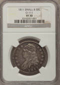 Bust Half Dollars, 1811 50C Small 8 VF30 NGC. O-111. NGC Census: (18/519). PCGSPopulation (7/313). Mintage: 1,203,644. Numismedia Wsl. Price...