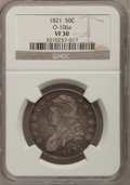 Bust Half Dollars: , 1821 50C VF30 NGC. O-106a. NGC Census: (11/433). PCGS Population(21/509). Mintage: 1,305,797. Numismedia Wsl. Price for p...
