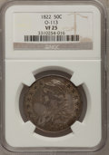 Bust Half Dollars: , 1822 50C VF25 NGC. O-113. NGC Census: (11/490). PCGS Population(13/609). Mintage: 1,559,573. Numismedia Wsl. Price for pr...