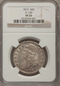 Bust Half Dollars: , 1813 50C VF25 NGC. O-109. NGC Census: (14/413). PCGS Population(14/457). Mintage: 1,241,903. Numismedia Wsl. Price for pr...