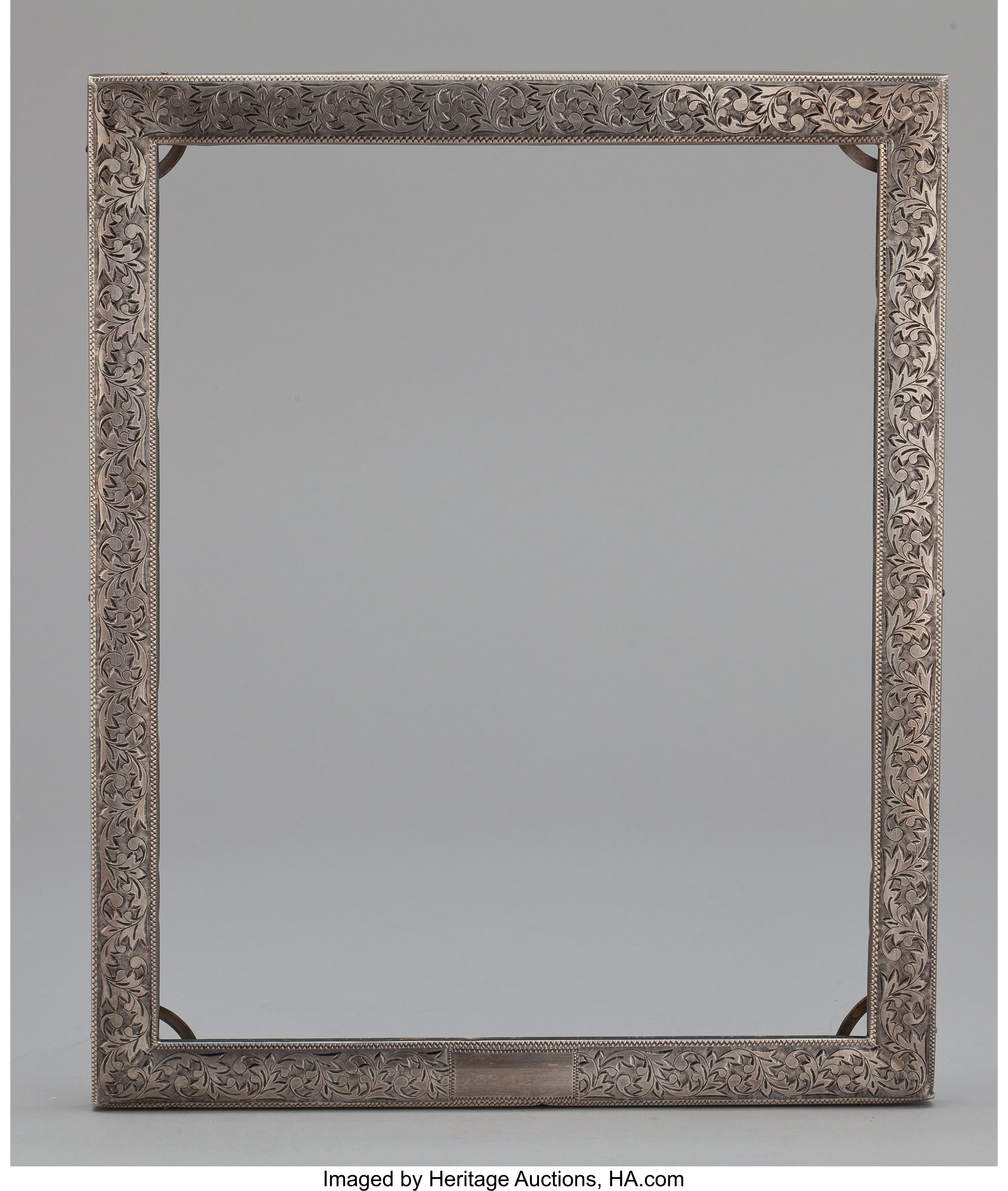 An American Wood Frame With Silver Overlay Maker Unknown