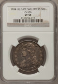 Bust Half Dollars, 1834 50C Large Date, Small Letters VF30 NGC. O-106. PCGS Population(11/384). (#6165)...