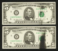 Error Notes:Ink Smears, Consecutive Pair of Fr. 1974-E $5 1977 Federal Reserve Notes.Choice Crisp Uncirculated.. ... (Total: 2 notes)