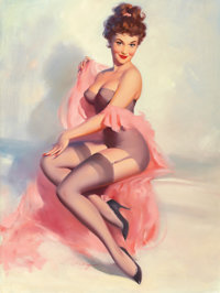 WILLIAM MEDCALF (American, 20th Century) Pretty in Pink Oil on board 40 x 30 in. signed lower