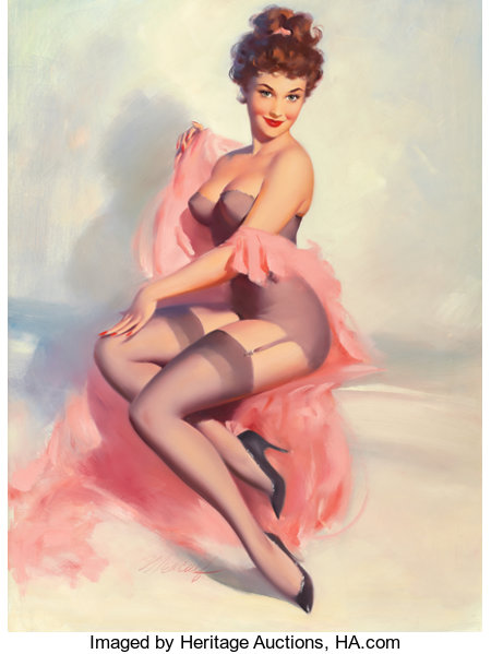 WILLIAM MEDCALF (American, 20th Century) Pretty in Pink Oil on board 40 x 30 in. Signed lower center ...