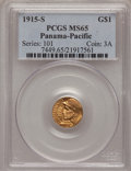 Commemorative Gold: , 1915-S G$1 Panama-Pacific Gold Dollar MS65 PCGS. PCGS Population(1177/782). NGC Census: (718/613). Mintage: 15,000. Numism...