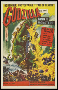 "Godzilla (Trans World, 1956). Autographed One Sheet (27"" X 41""). Science Fiction"