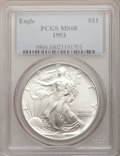 Modern Bullion Coins: , 1993 $1 Silver Eagle MS68 PCGS. PCGS Population (1012/3266). NGCCensus: (871/84497). Mintage: 6,763,762. Numismedia Wsl. P...