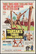 "Movie Posters:Adventure, Tarzan's Three Challenges Lot (MGM, 1963). One Sheet (27"" X 41"")and Lobby Cards (4) (11"" X 14""). Adventure.. ... (Total: 5 Items)"