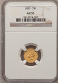 Gold Dollars: , 1855 G$1 AU55 NGC. NGC Census: (815/3220). PCGS Population(500/1642). Mintage: 758,269. Numismedia Wsl. Price for problem ...