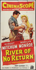 "Movie Posters:Adventure, River of No Return (20th Century Fox, 1954). Three Sheet (41"" X81""). Adventure.. ..."