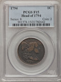 1794 1C Head of 1794 Fine 15 PCGS. PCGS Population (34/364). NGC Census: (0/0). Numismedia Wsl. Price for problem free N...