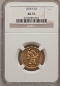 Liberty Half Eagles: , 1878-S $5 AU55 NGC. NGC Census: (73/295). PCGS Population (41/99).Mintage: 144,700. Numismedia Wsl. Price for problem free...