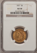 Liberty Half Eagles: , 1857 $5 AU58 NGC. NGC Census: (117/43). PCGS Population (25/37).Mintage: 98,180. Numismedia Wsl. Price for problem free NG...